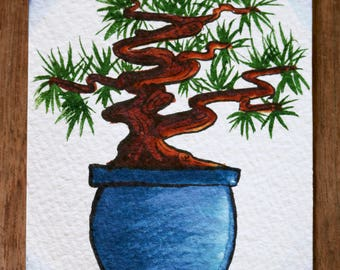 Small Watercolor Bonsai