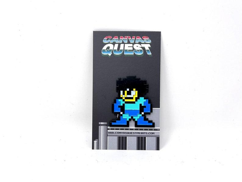 enamel pin retro gaming Mega Man without his helmet from Mega Man 2 Classic NES 8-bit game enamel pin