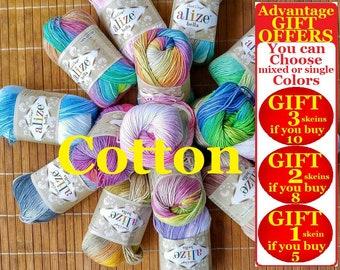 Alize Bella batik, %100 Cotton yarn, Crochet yarn, knitting yarn, baby yarn, soft yarn, hypoallergenic yarn, sport, cotton yarn, toy yarn