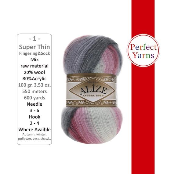 Multi-Color Fingering Weight Angora Yarn