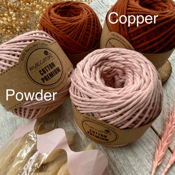 100/% algodón recycled 75 metros de hilo macramé 5 mm 10 colores diferentes