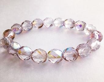 Lavender Bracelet,  Glass Bead Bracelet, Czech Glass Jewelry, Handcrafted Bracelet, Gift for Her, Best Friends Gift, Beaded Bracelet