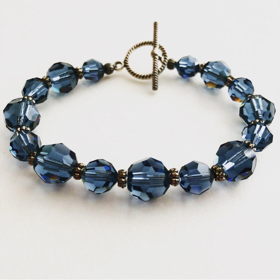 swarovski kristall armband denim blau swarovski armband etsy. Black Bedroom Furniture Sets. Home Design Ideas