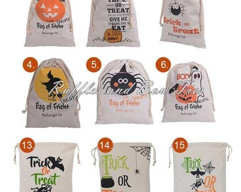 Personalized Halloween Treat Bag - Embroidered halloween linen bag - Candy bag - gifts under 20 - Trick or Treat candy bag - gifts for kids
