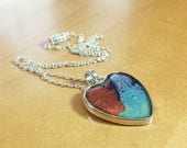 Rainbow Heart Resin Pebeo Pendant Necklace
