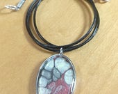 Red and Silver Pebeo Resin Necklace