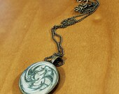 Hand Painted Antique Brass Resin Pendant