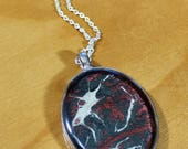 Red and Black Hand-painted Oval Pendant Necklace