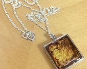 Hand Painted Square Resin Pendant Necklace