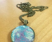 Blue and Purple Resin Pebeo Pendant Necklace