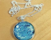 Blue and White Handpainted Resin Necklace