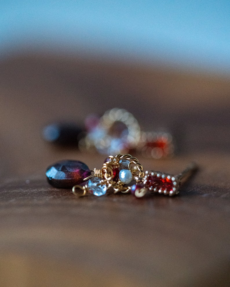 Dainty Red Dangle earrings statement earrings gift for her Dainty Garnet Cubic Zirconia gemstone earrings Valentines Day gift