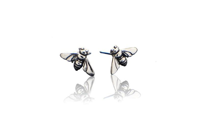Silver Stud Earrings Sterling Silver Honey Bee Earrings Animal Insect