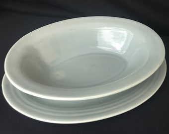 Set of 2 Bauer Oval Serving Platter and Dish, Light Green-Grey, rare color
