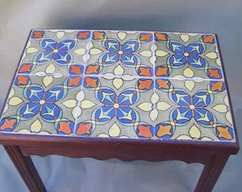 "6-8"" Malibu Tile Table, Monterey style Wood Base"