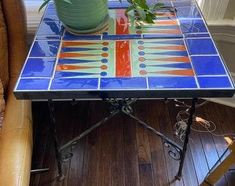 Vintage Catalina Backgammon Table, Wrought Iron base