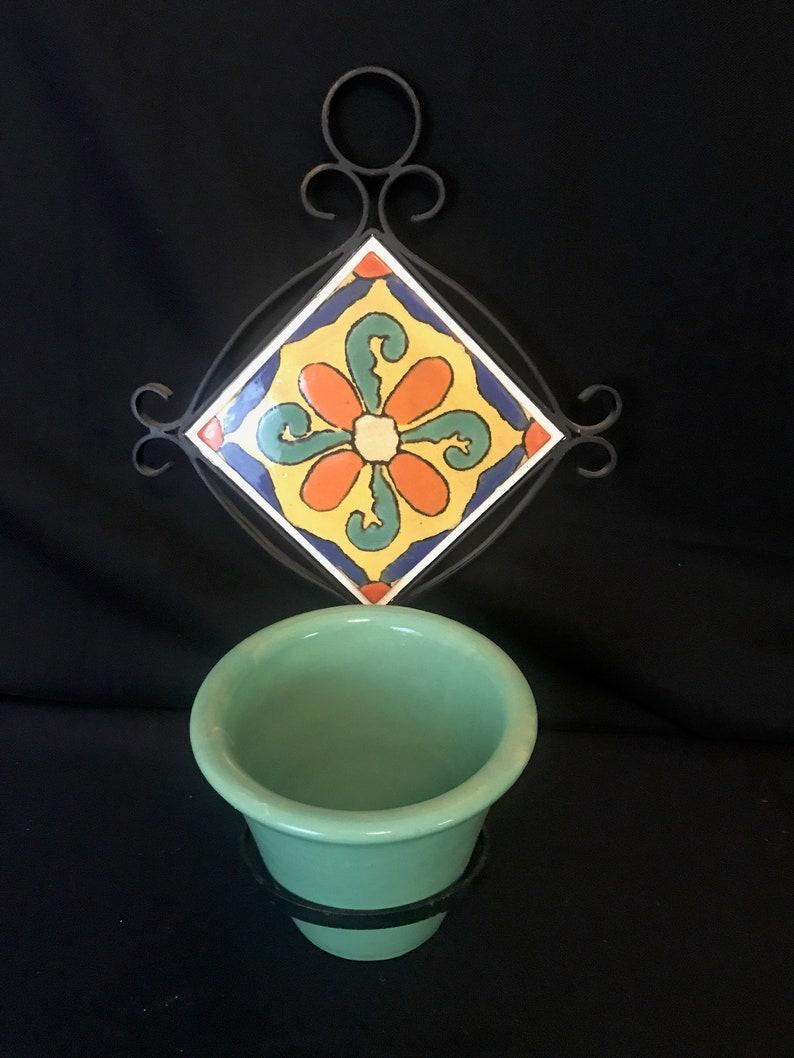 Hispano Moresque Tile Wall Plaque Flower Pot Holder image 0
