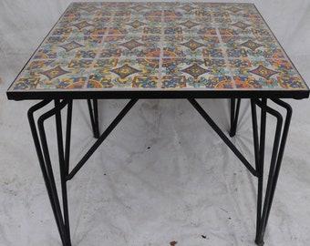 Tudor Tile Breakfast Table, Deco Iron Base