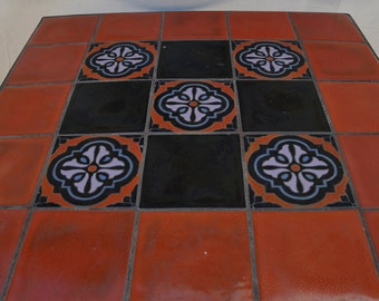 Catalina Island Patio Tile Table , Deco tiles with wrought iron base