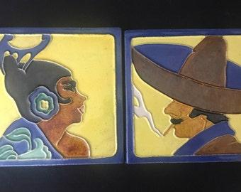 Brayton Laguna Señor and Señorita Tiles, Rare Matching Pair