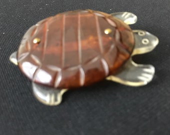 Vintage Jewelry Lucite Pin, Turtle
