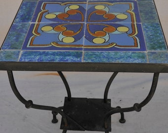 Rare Catalina Tile and Wrought Iron Side Table