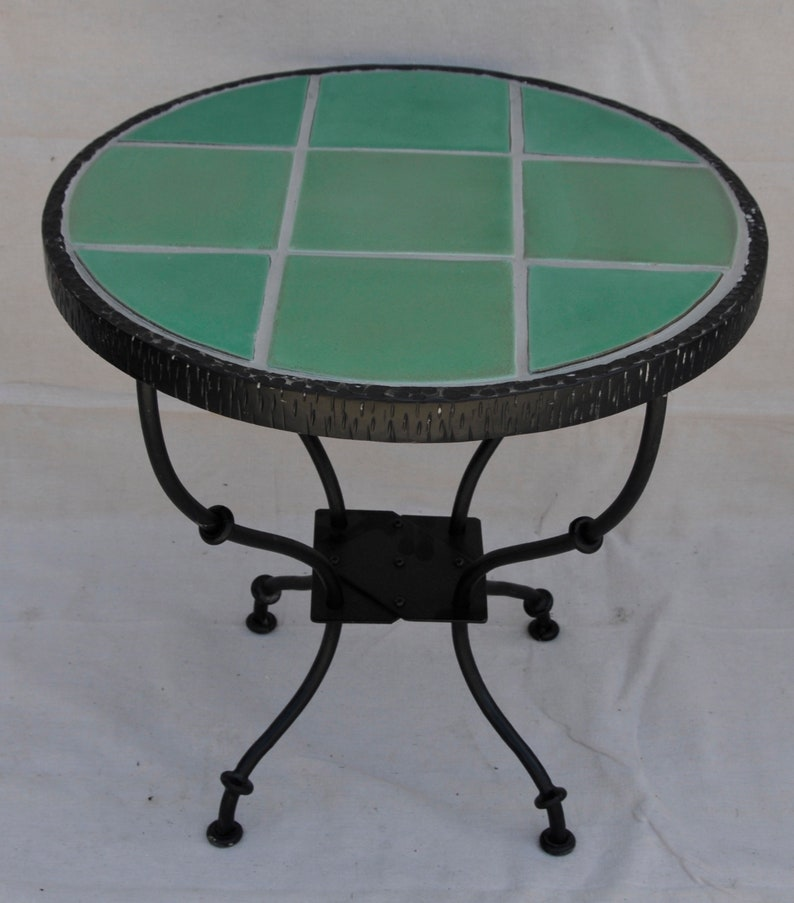 Catalina Green 9 Tile Table in Wrought Iron Stand image 0