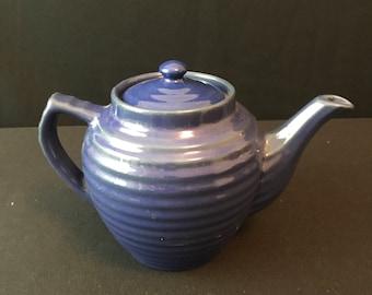 Bauer Blue Ringware Teapot