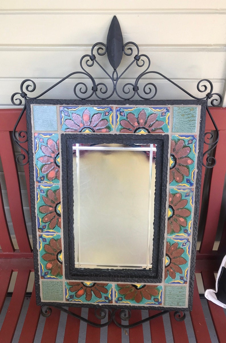 S & S Tile Mirror with Wrought Iron Frame image 0