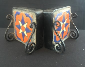 Catalina Star Tile Bookends, Wrought Iron stands