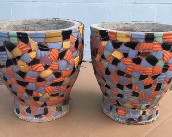 Pair of Hillside Pottery Style, Large Mosaic Porch Pots