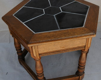 Catalina Rare Black Tile Table, Wood Base