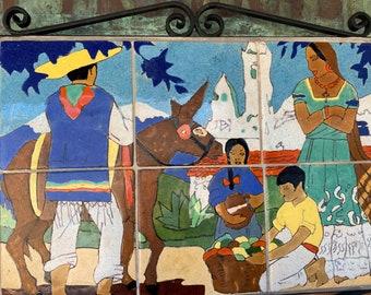 San Jose Tile Mural, Village Scene, Wrought Iron Framework
