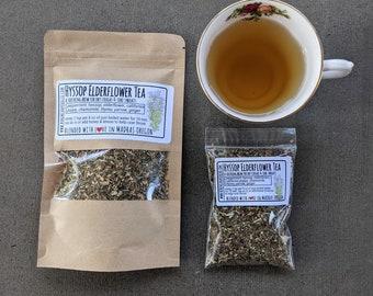 Hyssop Elderflower Herbal Tea / cough soothing tea / Home Apothecary Teas