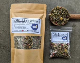 Blissful Bedtime Blend Herbal Tea | relaxing tea for mild insomnia | loose leaf herbal tea | sleepy time Tisane