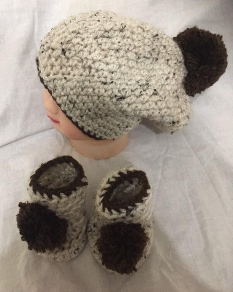 Handmade Crochet Baby Hat booties set Newborn 0-3 months Grey Black Unisex