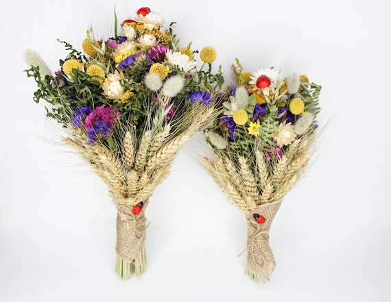 Dry Flower Rustic Bouquet Dried Flower Bouquet Colorful Etsy