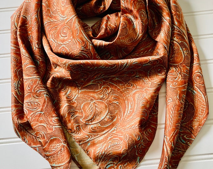 Featured listing image: Tooled Leather Satin Wild Rag