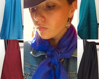 Cowboy Silk Scarves, Solid Wild Rags, Silk Hair Scarf, Western Fashion