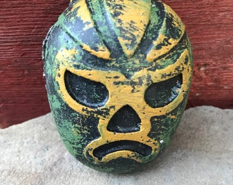 Lucha libre wrestler cement fridge magnet casted and colored by Concrete Collectibles