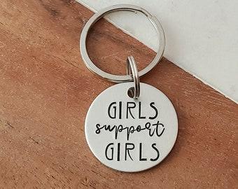 Girls Support Girls Girly Keychain Feminist Keychain Girl Gang Assemble Vinyl Hotel Keychain