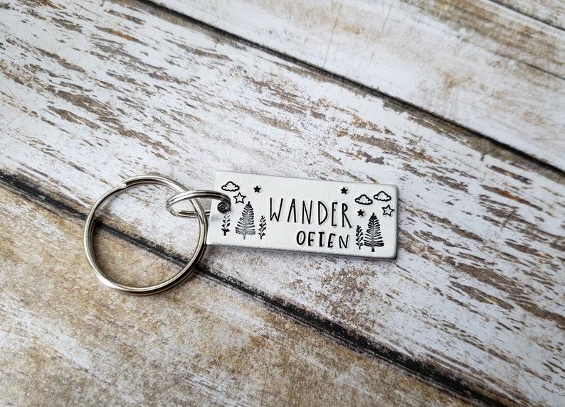 Wanderer Key Chain Gift for Outdoors Lover Outdoor Themed Gift Gift for Men Wander Often Handstamped Keychain