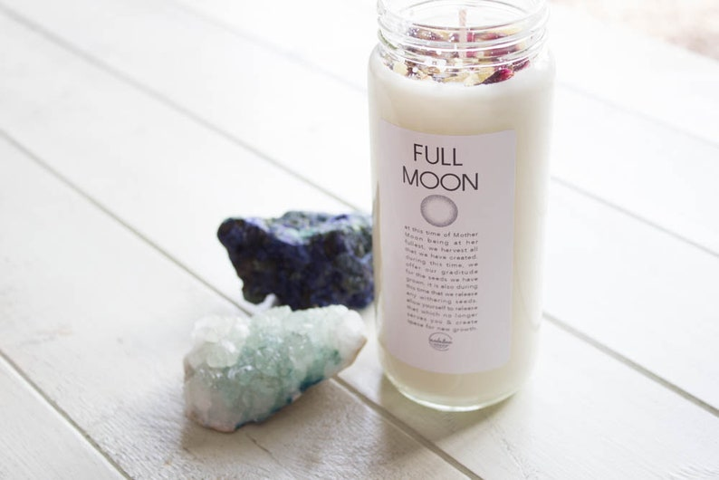Full Moon Intention Ritual Candle-Soy Candle-Meditation ...
