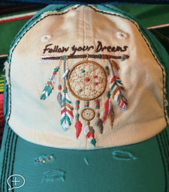 45669149f86 Follow Your Dreams Dream Catcher Distressed Cap w Rhinestone Accents