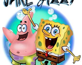 B052 Custom Personalized Airbrush Spongebob Patrick Shirt Party Theme Gift Hoodie Tag Coffee Mug Coaster Painting Name Design Bday Present
