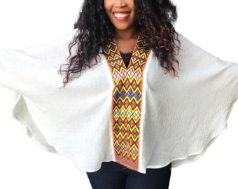 Ethiopian Dress, Eritrean Dress,  White Tunic, Shall, Pull Over, Poncho, Organic Cotton,Boho Chic, Organic Cotton Top. Top