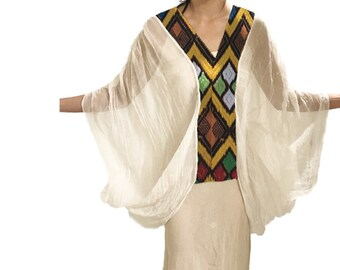 Ethiopian / Eritrean Dress, Tunic, Shall, Pull Over, Ponchos, Scarf, Organic Cotton,Boho Chic, Organic Cotton Top.
