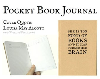 Book Journal - Louisa May Alcott Quote   Pocket Reading Diary - Gift for Bookworm   A6 Kraft Book Log   Bibliophile Quote Typography GIft