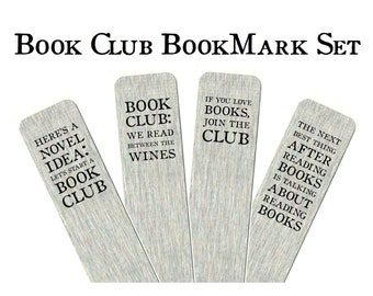 Book Club Bookmark Set - Party Favour Gifts for Reading Group | Aluminium Page Marker Set of 4 or 8, Book Group Stocking Filler Table Gift