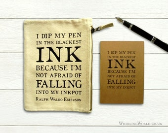 Emerson quote pencil case & A6 notebook   Mailable gift for writer, literary office gift   motivational inspirational quotation typography